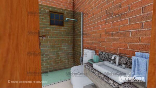 Minha casa pré fabricada modelo Tijolo ecologico 75,25M² 18