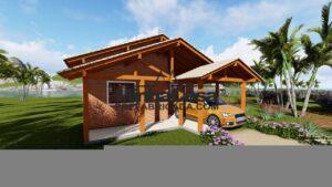 Casa de tijolo ecológico com garagem na frente