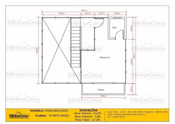 Casa de madeira modelo itapocu planta baixa mezanino