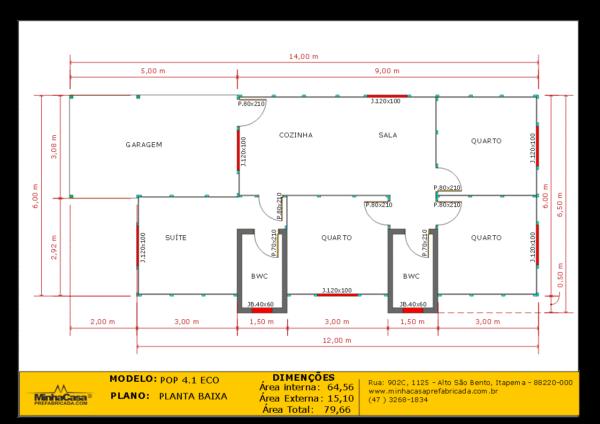 planta baixa casa de madeira com quatro quartos